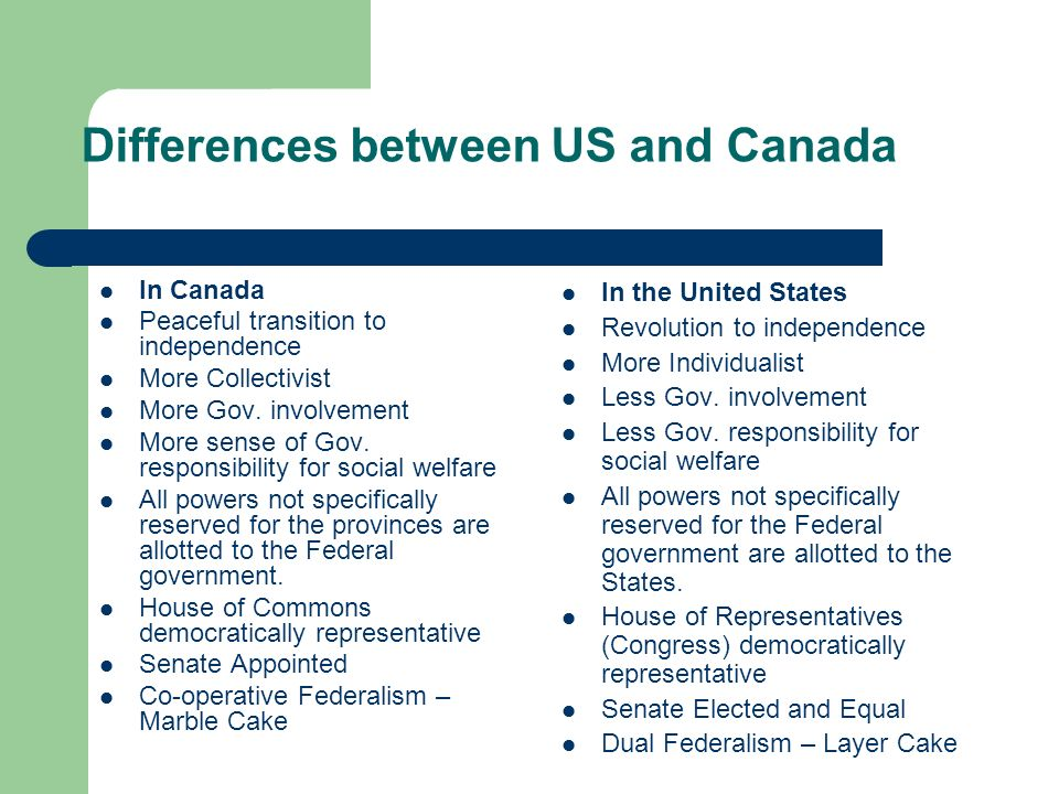 Differences between US and Canada