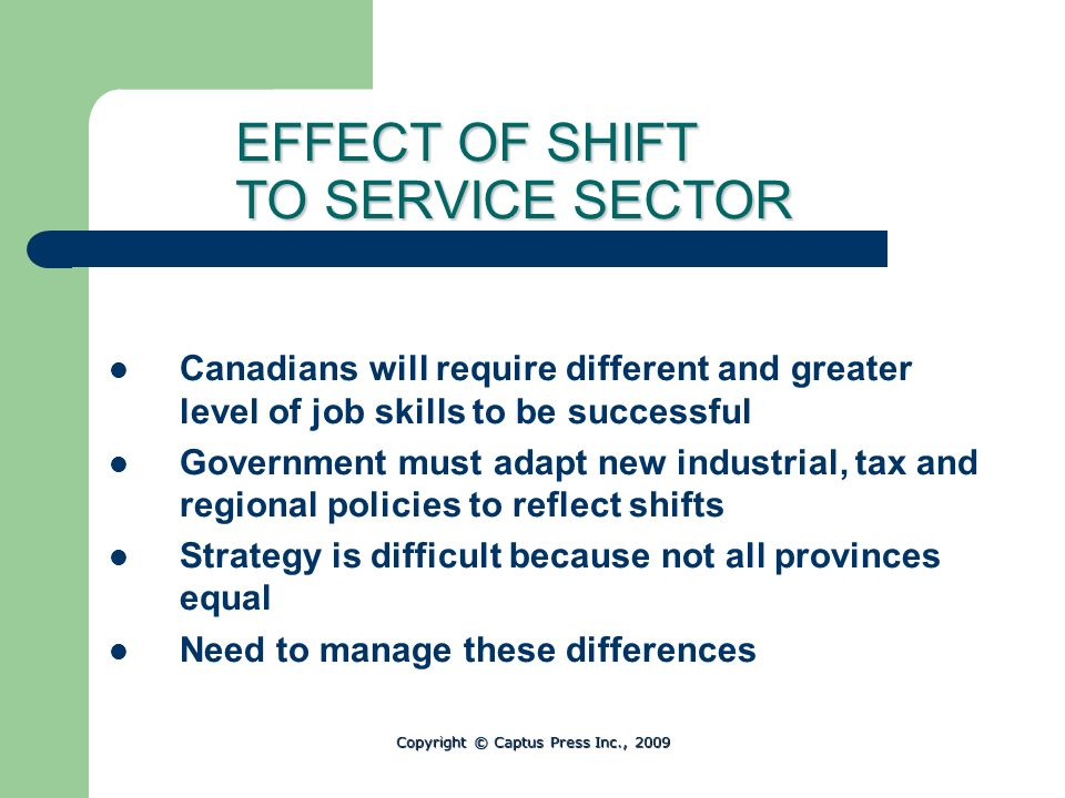 EFFECT OF SHIFT TO SERVICE SECTOR