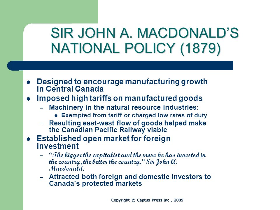 SIR JOHN A. MACDONALD'S NATIONAL POLICY (1879)