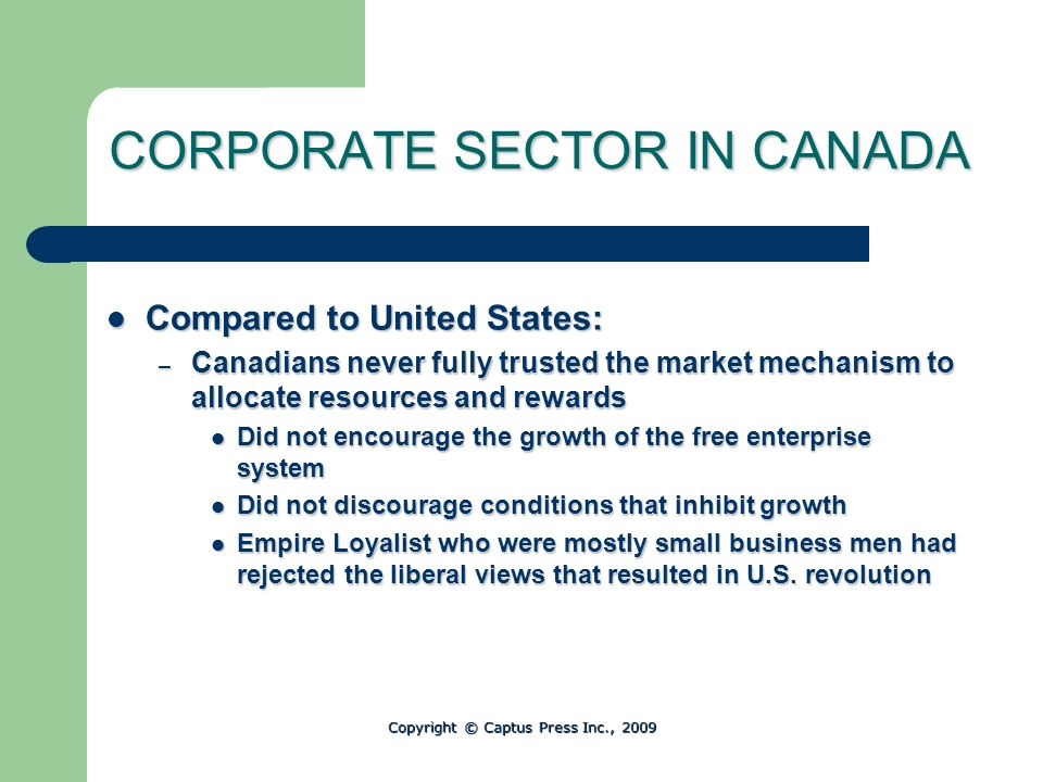 CORPORATE SECTOR IN CANADA