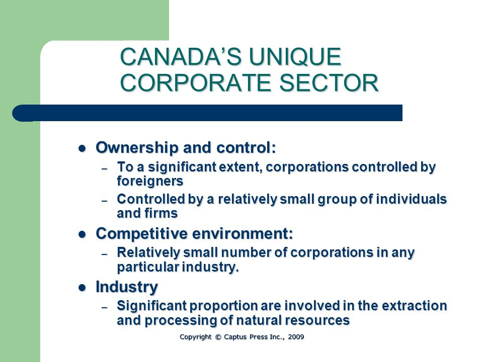 CANADA'S UNIQUE CORPORATE SECTOR