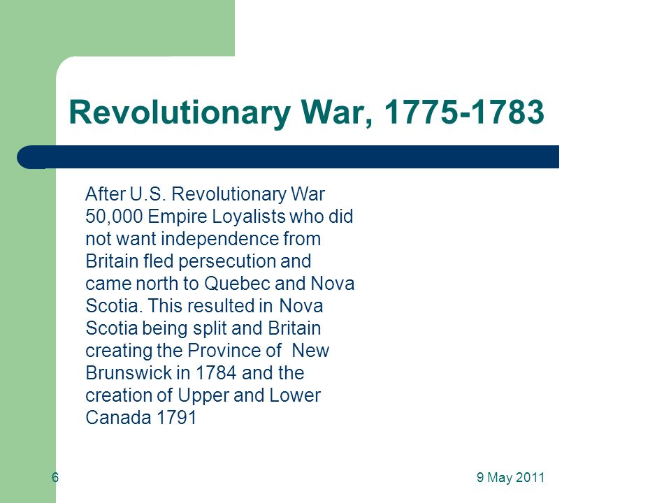 Revolutionary War, 1775-1783