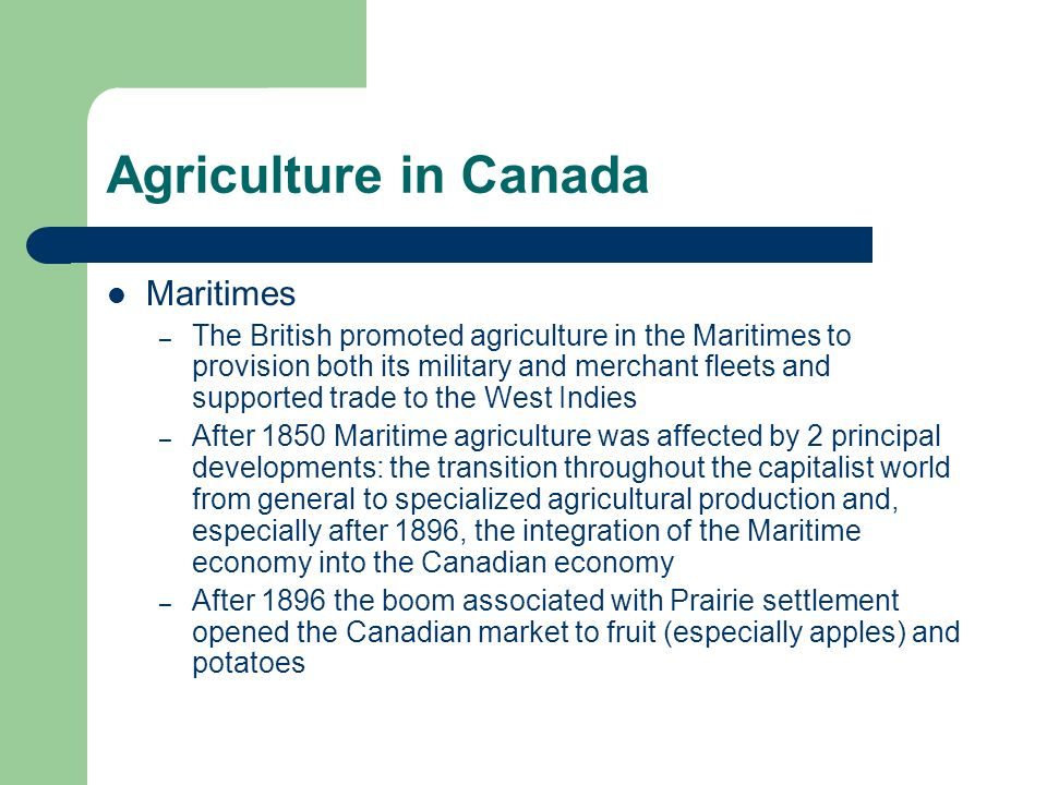 Agriculture in Canada Maritimes