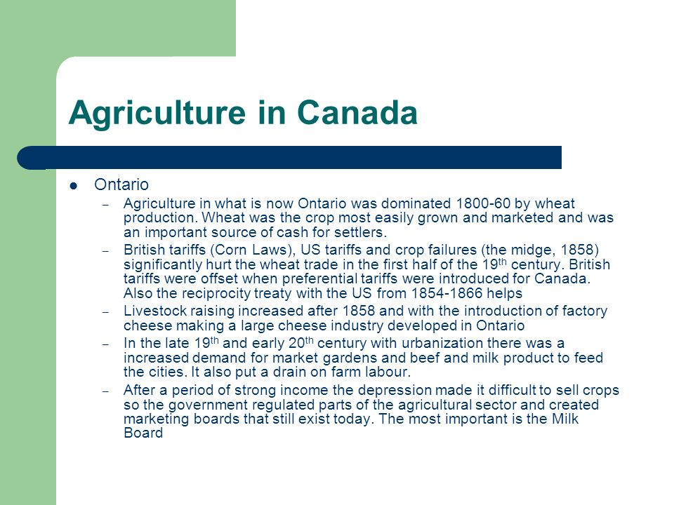 Agriculture in Canada Ontario