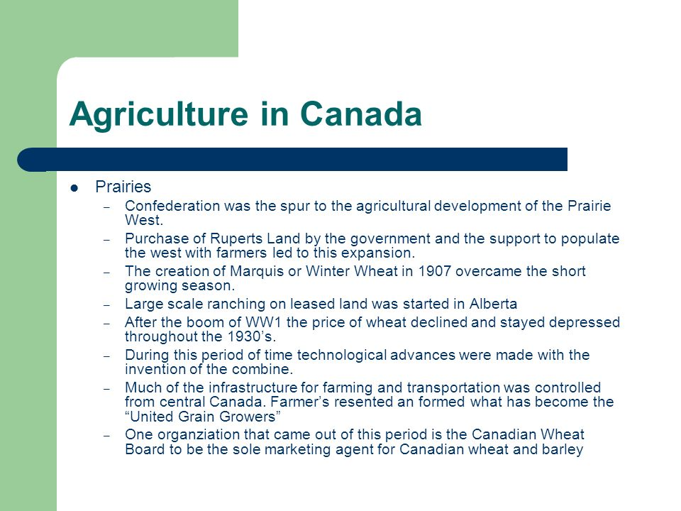 Agriculture in Canada Prairies