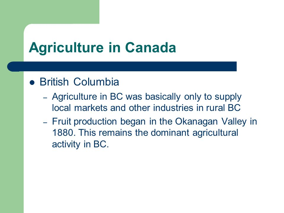 Agriculture in Canada British Columbia