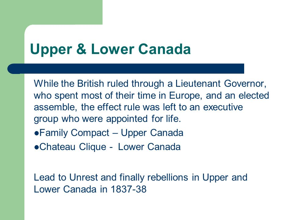 Upper & Lower Canada