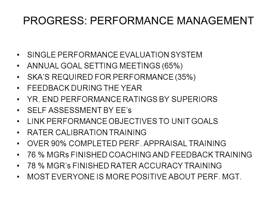 PROGRESS: PERFORMANCE MANAGEMENT
