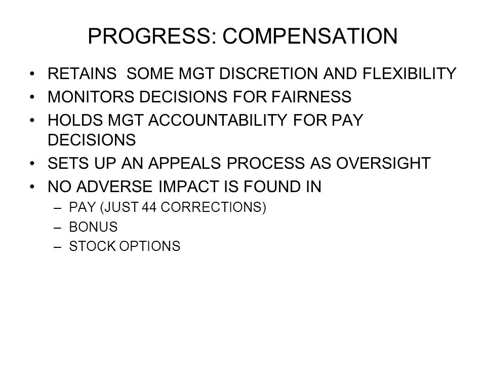 PROGRESS: COMPENSATION