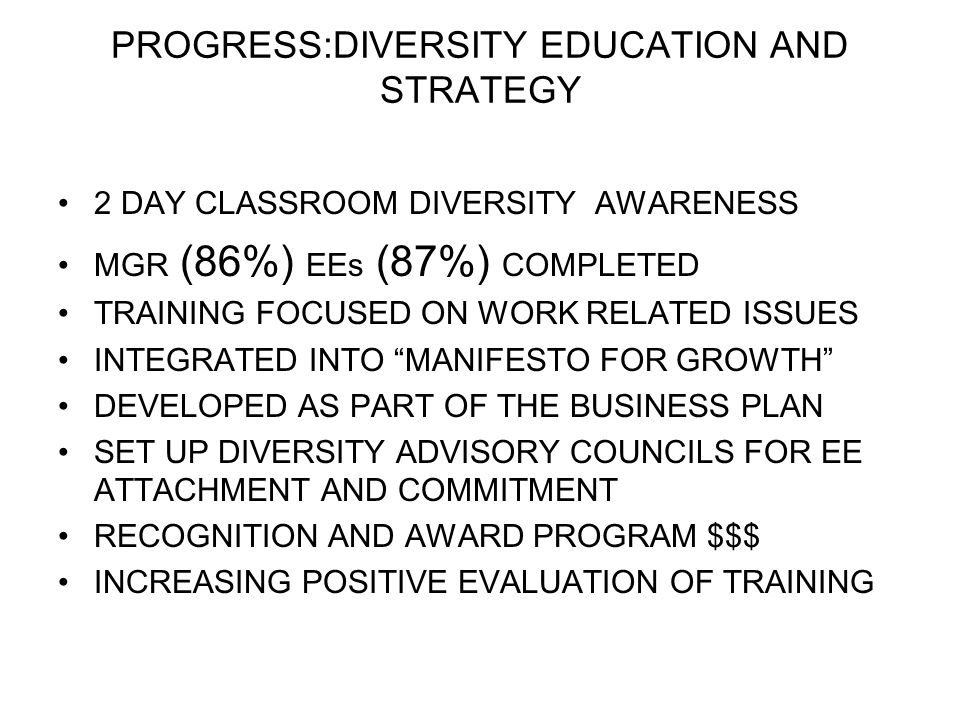 PROGRESS:DIVERSITY EDUCATION AND STRATEGY