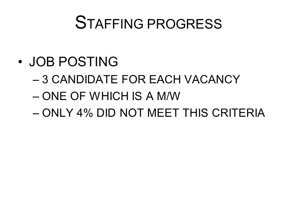 STAFFING PROGRESS JOB POSTING 3 CANDIDATE FOR EACH VACANCY