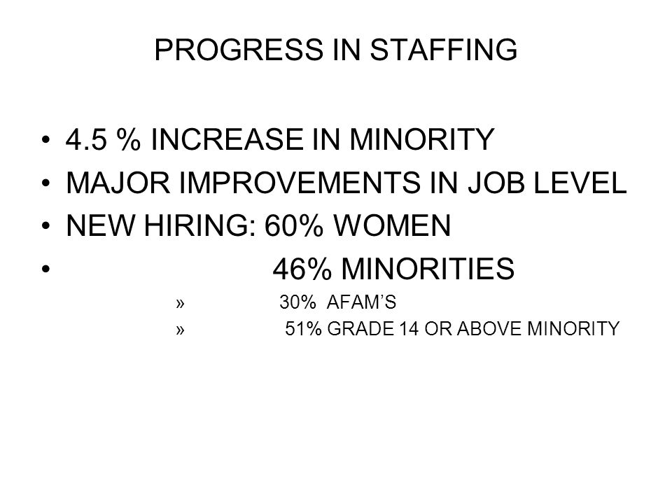 MAJOR IMPROVEMENTS IN JOB LEVEL NEW HIRING: 60% WOMEN 46% MINORITIES