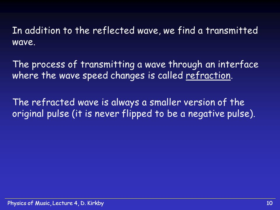 In addition to the reflected wave, we find a transmitted wave