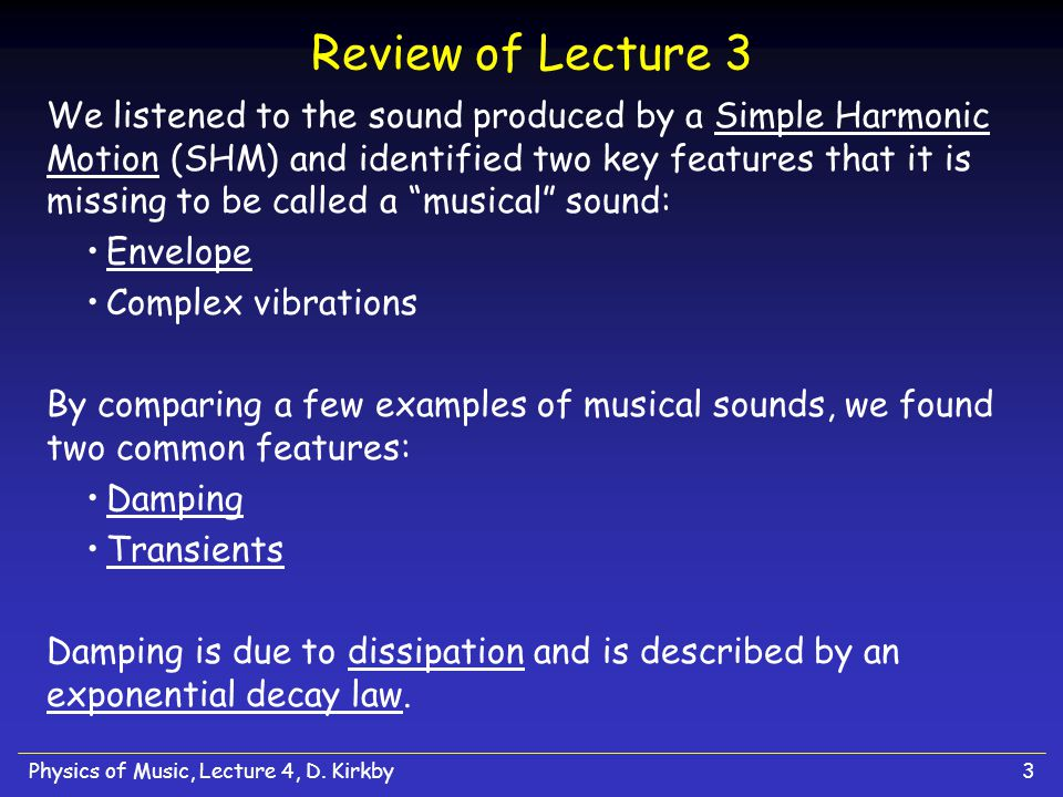 Review of Lecture 3