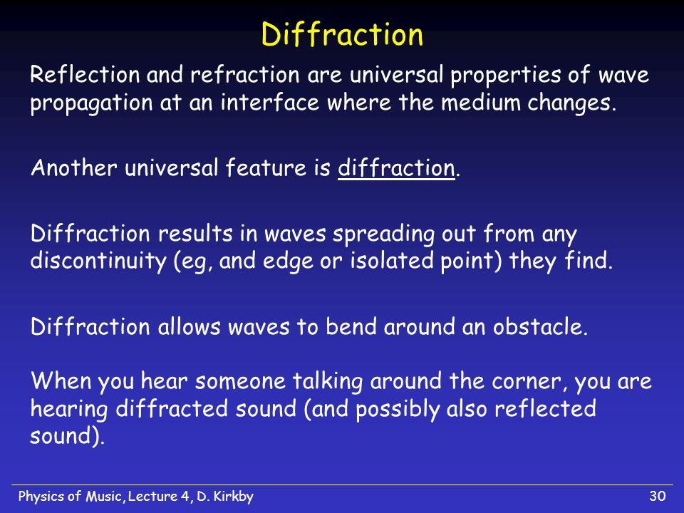 Diffraction Reflection and refraction are universal properties of wave propagation at an interface where the medium changes.