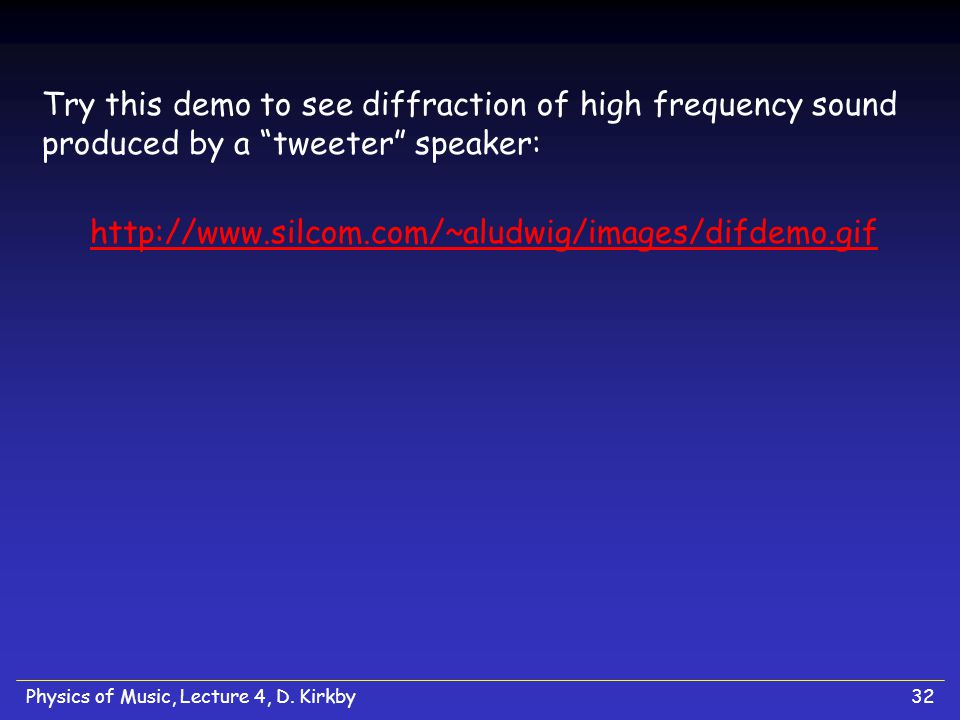 Try this demo to see diffraction of high frequency sound produced by a tweeter speaker: