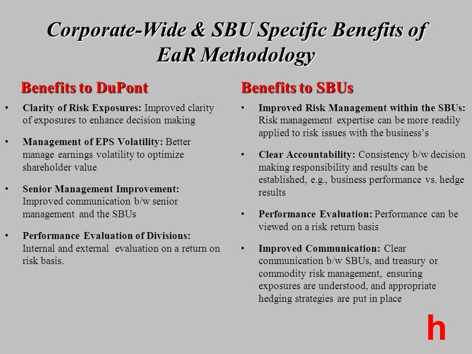 Corporate-Wide & SBU Specific Benefits of EaR Methodology