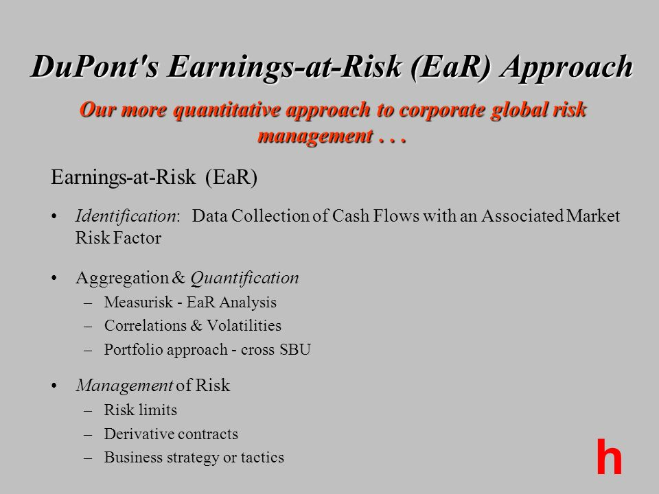 DuPont s Earnings-at-Risk (EaR) Approach Our more quantitative approach to corporate global risk management . . .