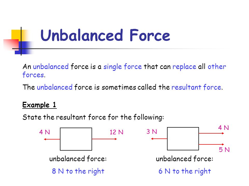 Unbalanced Force An unbalanced force is a single force that can replace all other forces.