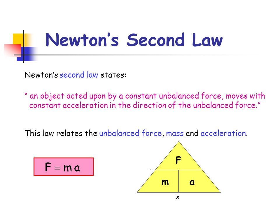 Newton's Second Law F m a Newton's second law states: