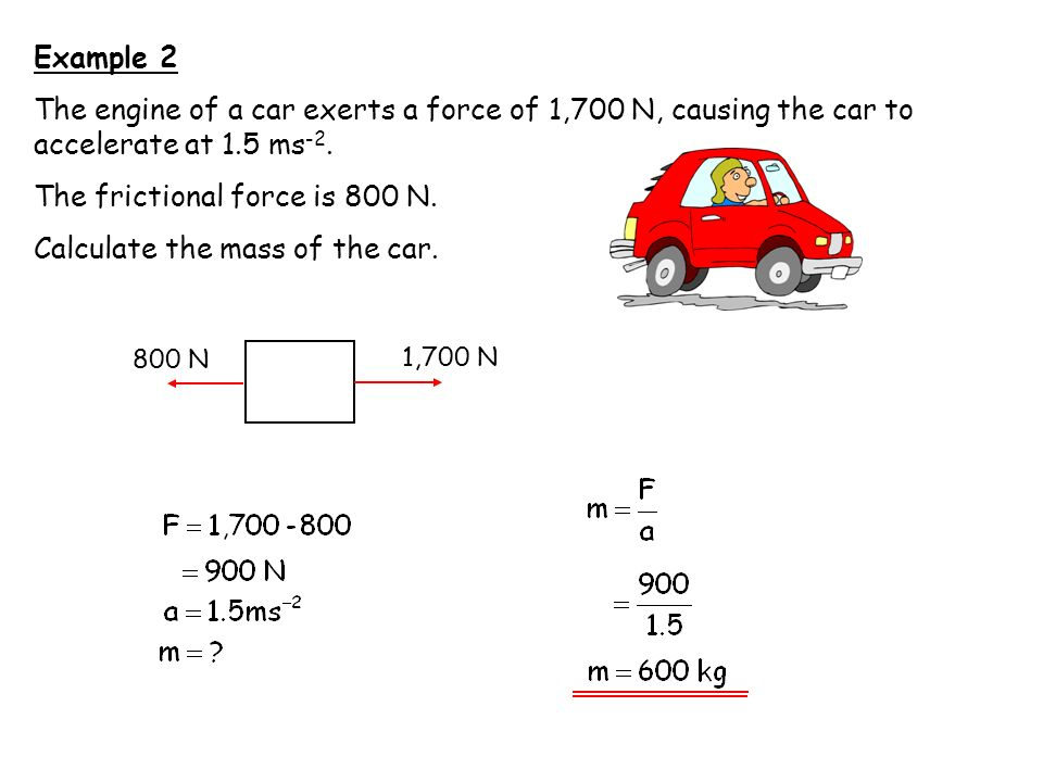 The frictional force is 800 N. Calculate the mass of the car.
