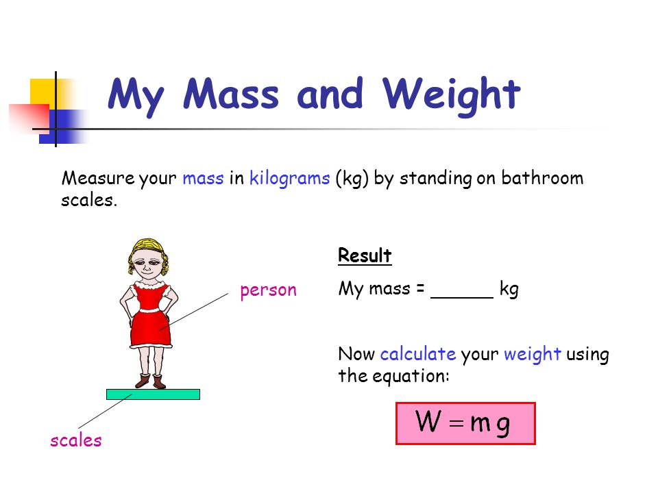 My Mass and Weight Measure your mass in kilograms (kg) by standing on bathroom scales. scales. person.