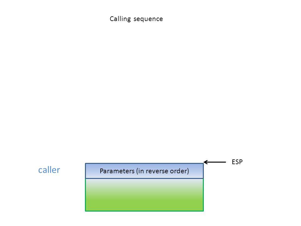 Parameters (in reverse order)