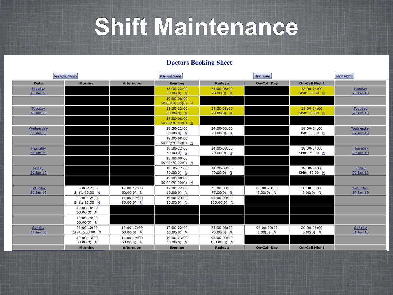 Shift Maintenance