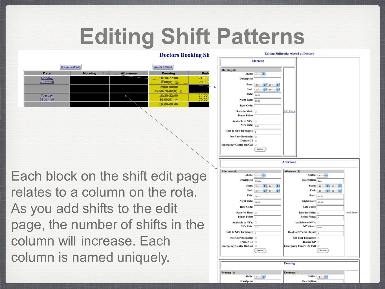 Editing Shift Patterns