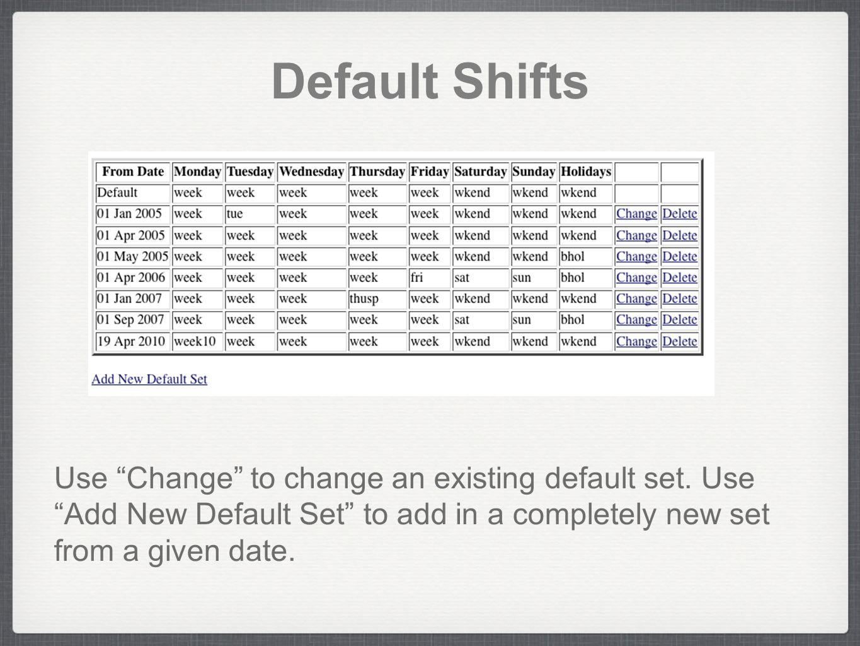 Default Shifts Use Change to change an existing default set.
