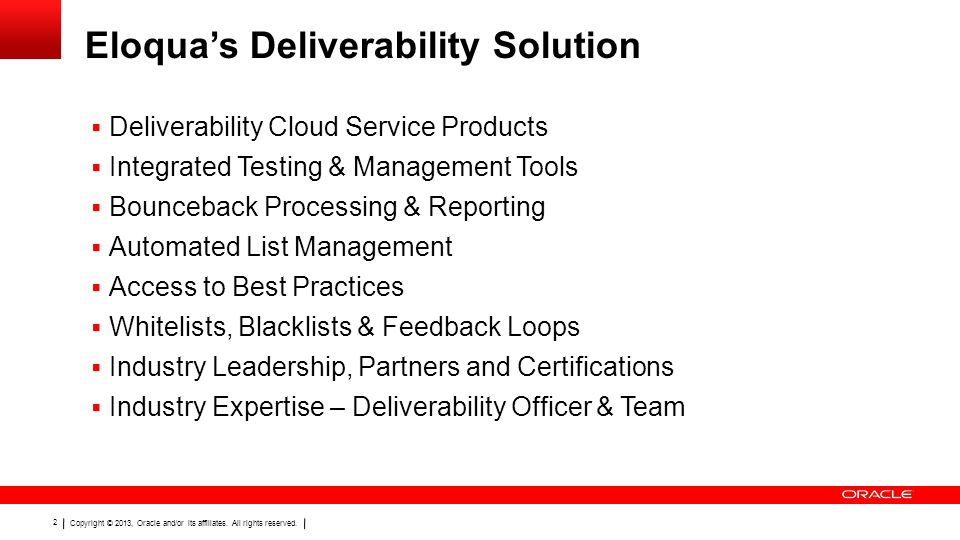 Eloqua's Deliverability Solution