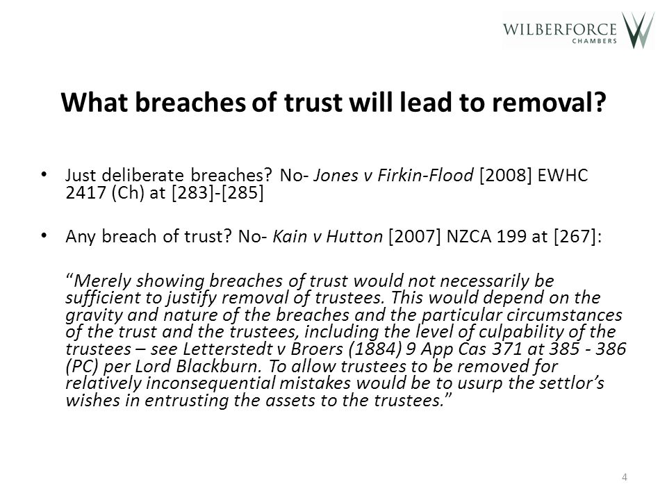 What breaches of trust will lead to removal