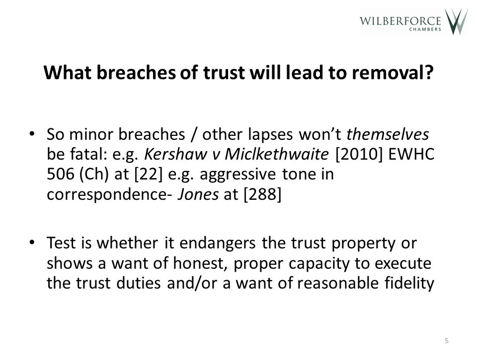 But what where there the relationship has broken down (even without a breach of trust)