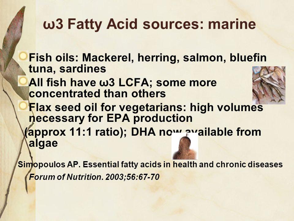 ω3 Fatty Acid sources: marine