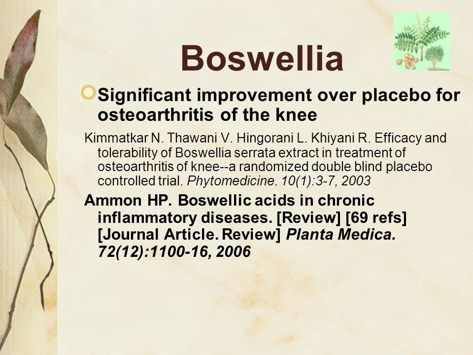 Boswellia Significant improvement over placebo for osteoarthritis of the knee.
