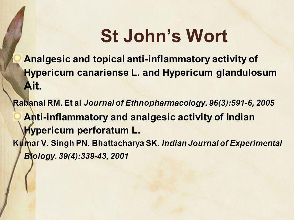 St John's Wort Analgesic and topical anti-inflammatory activity of Hypericum canariense L. and Hypericum glandulosum Ait.