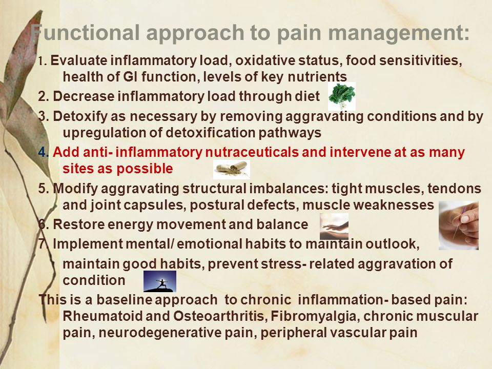 Functional approach to pain management: