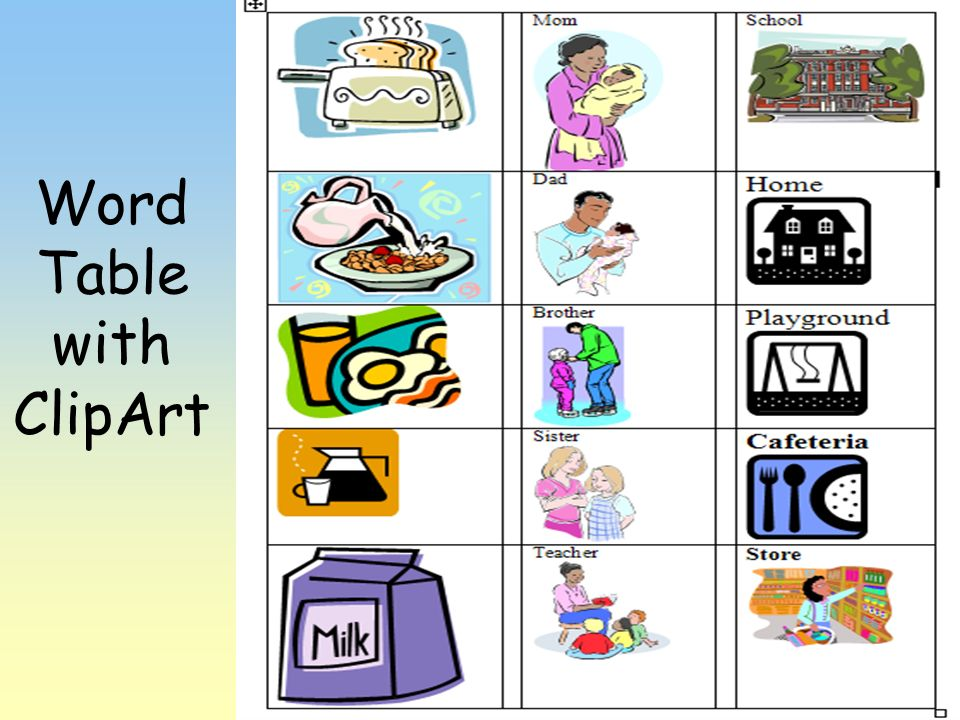 Word Table with ClipArt