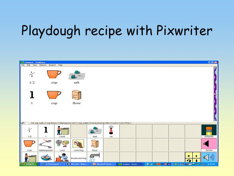 Playdough recipe with Pixwriter