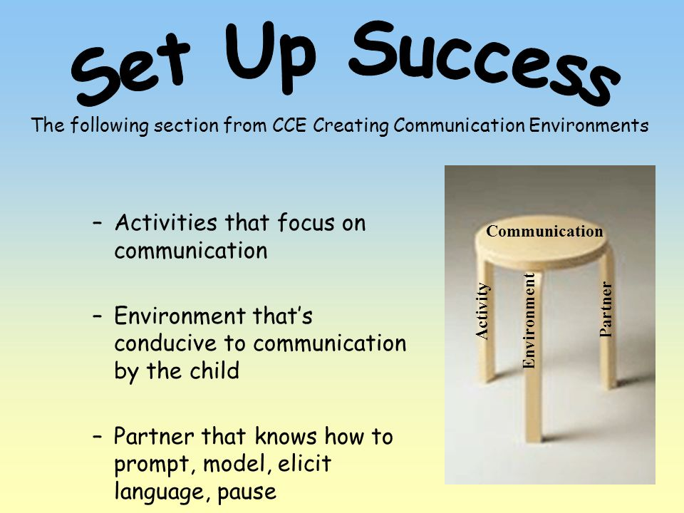 The following section from CCE Creating Communication Environments