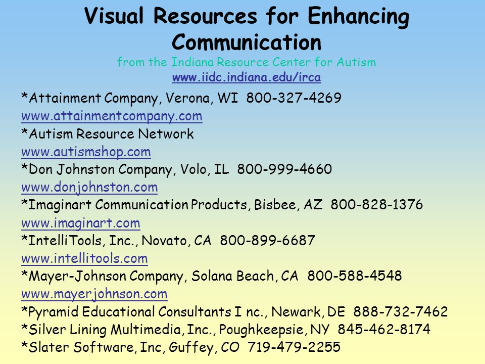Visual Resources for Enhancing Communication from the Indiana Resource Center for Autism www.iidc.indiana.edu/irca