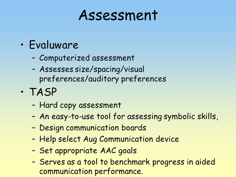 Assessment Evaluware TASP Computerized assessment