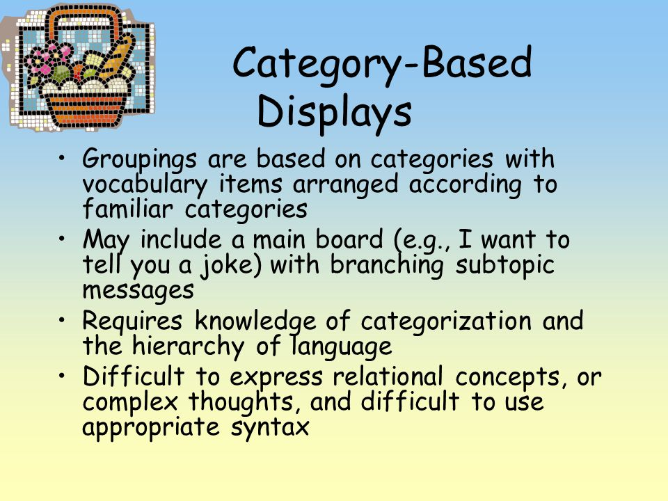 Category-Based Displays