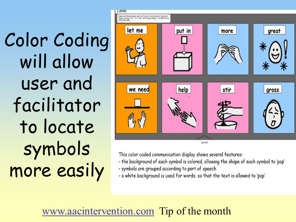 Color Coding will allow user and facilitator to locate symbols more easily