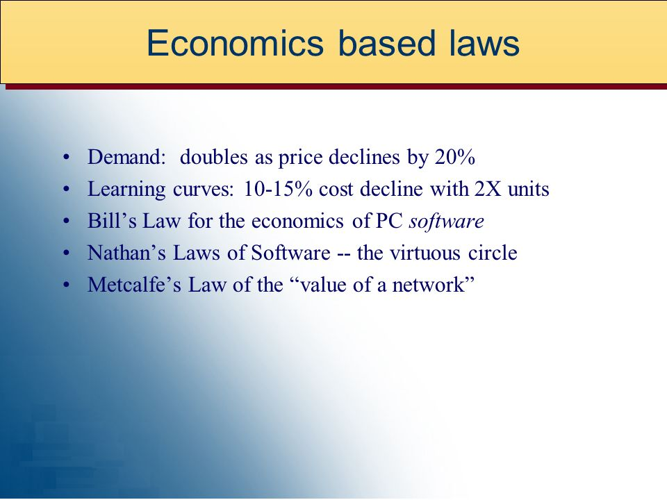 Economics based laws Demand: doubles as price declines by 20%