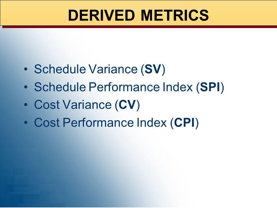 DERIVED METRICS Schedule Variance (SV)