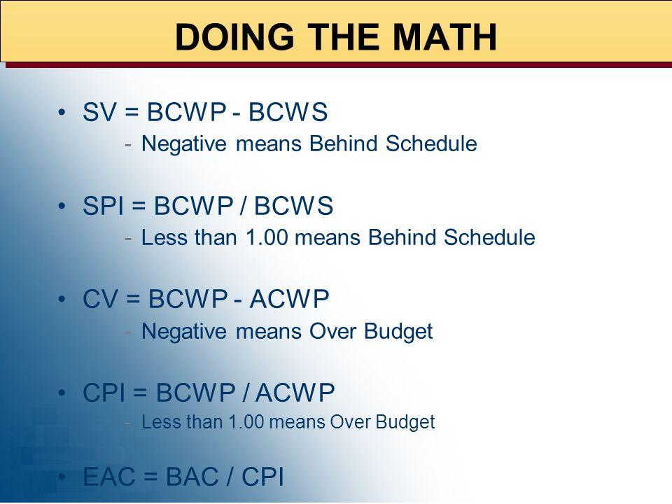 DOING THE MATH SV = BCWP - BCWS SPI = BCWP / BCWS CV = BCWP - ACWP