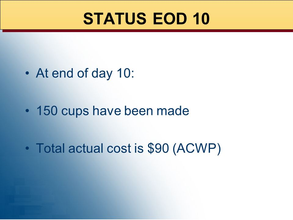 STATUS EOD 10 At end of day 10: 150 cups have been made