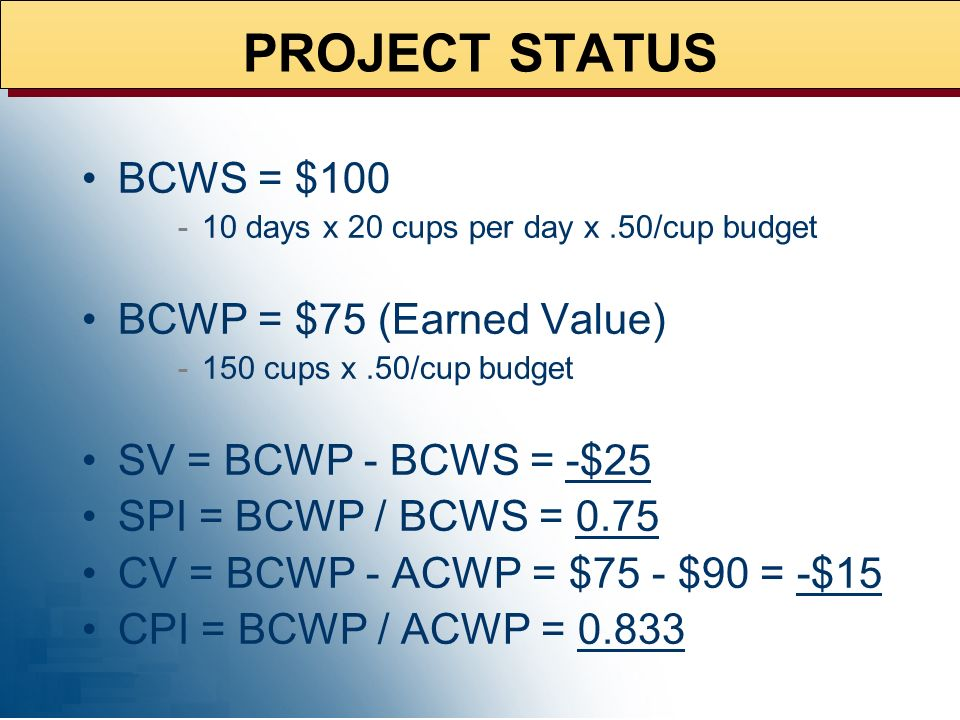 PROJECT STATUS BCWS = $100 BCWP = $75 (Earned Value)
