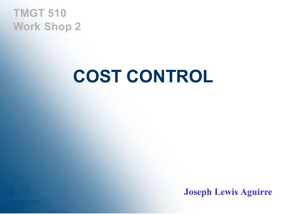 TMGT 510 Work Shop 2 COST CONTROL Joseph Lewis Aguirre